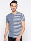 Blue Self Design Striped Tshirt