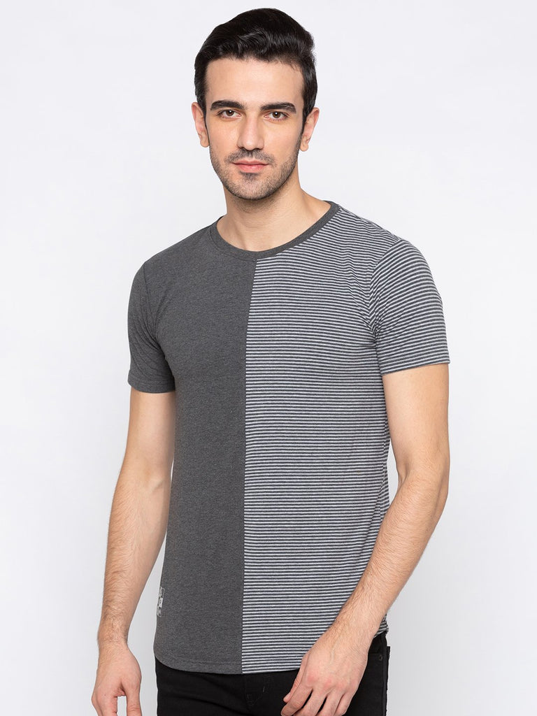 Casual Round Neck  Colorblocked Tshirt with Curved Hem