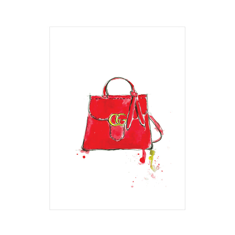 Gucci Red Bag Greeting Card