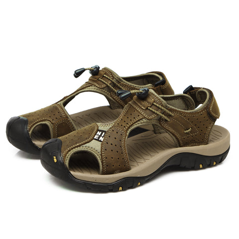 668a3e607ff3 DJSUNNYMIX NEW plus size 45 Men Sandals Genuine Leather England Style Male  outdoor Sandals Cow Leather