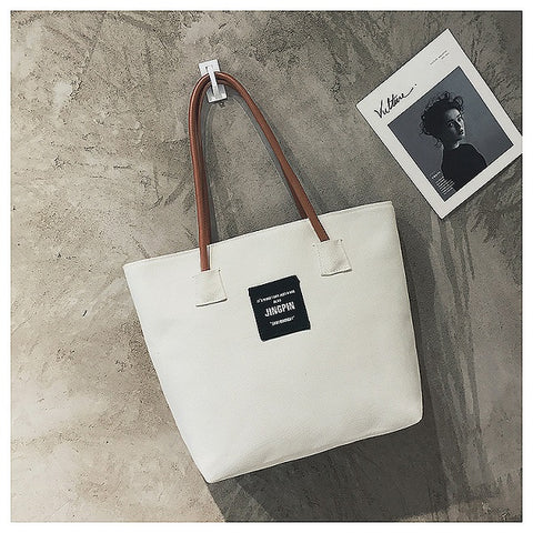 631c01f519 Fashion Women Beach Bag Casual Totes Female Canvas Shopping Bags Ladies  Large Capacity Shoulder Bag Letter
