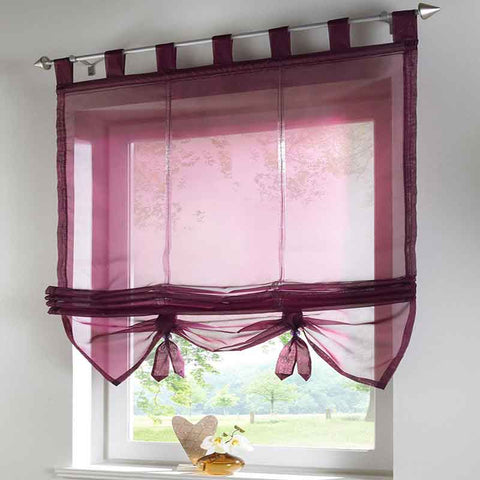 Kitchen Sun-shading Curtains Ribbon Sheer Tulle for Living