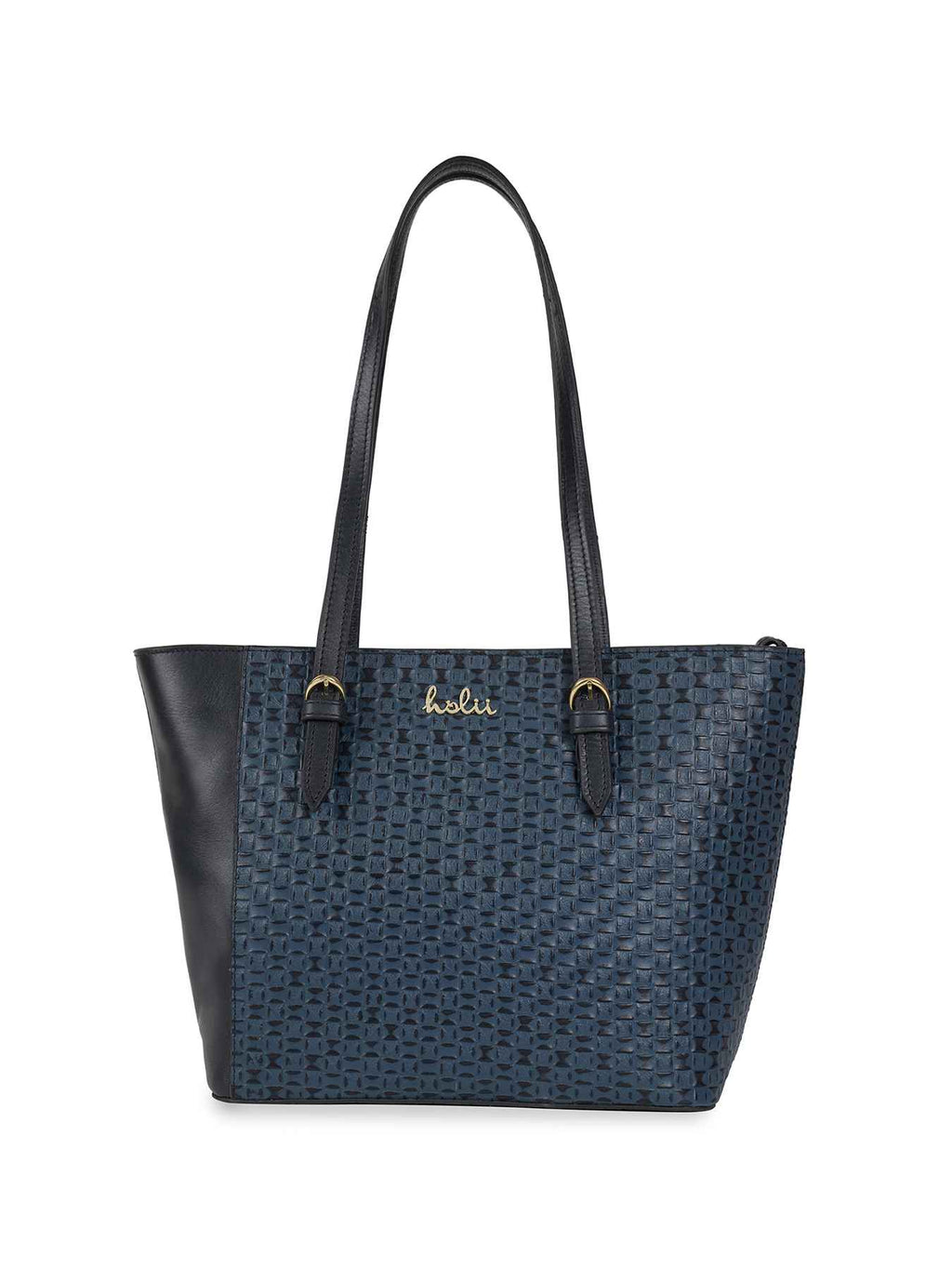 Lorrie Blue Leather Tote