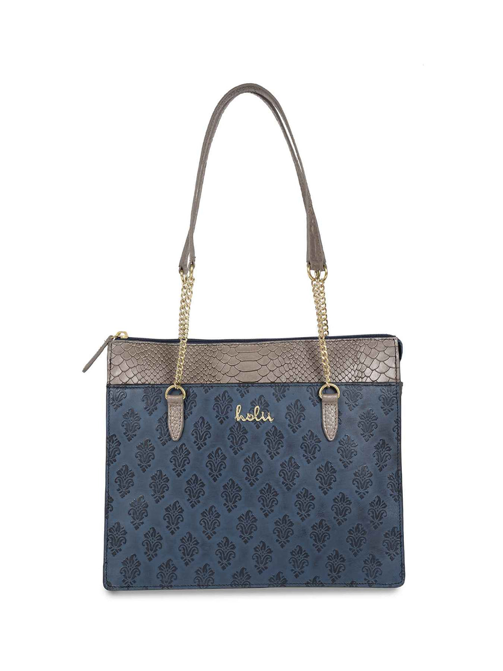 Audrey Blue Leather Tote