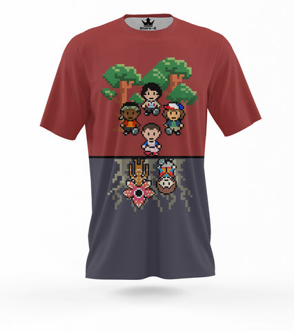 T-Shirt stranger things upside pixel
