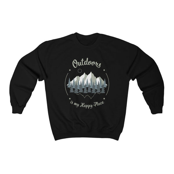 Outdoors is My Happy Place – Unisex Crewneck Outdoor Sweatshirt