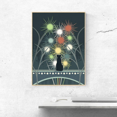 Cat and Fireworks Poster -  - Imagonarium