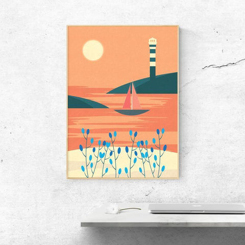 Orange Summer Landscape Poster -  - Imagonarium