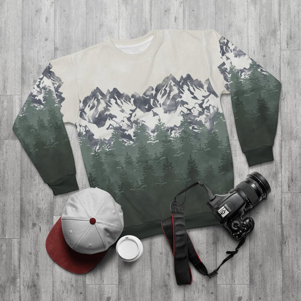 Green Mountains Unisex Sweatshirt - All Over Prints - Imagonarium