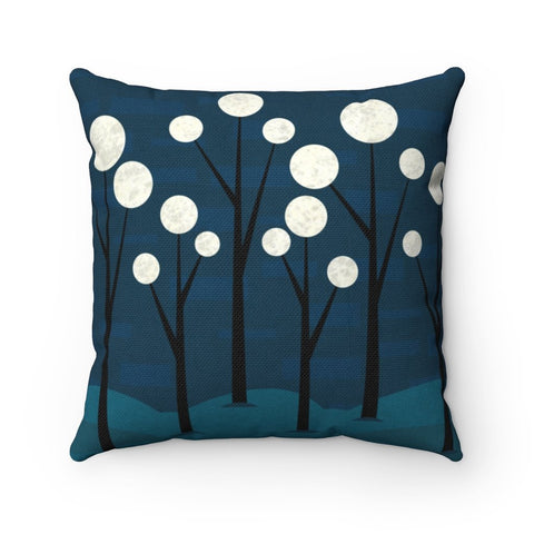 Blue Fantasy Landscape Throw Pillow – Square Pillow Made from Spun Polyester - Home Decor - Imagonarium