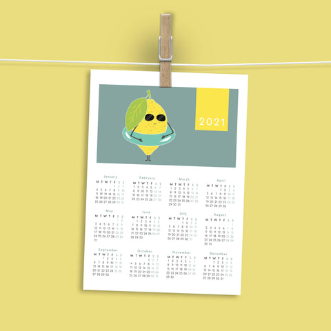 FREEBIE Printable Lemon Calendar 2021