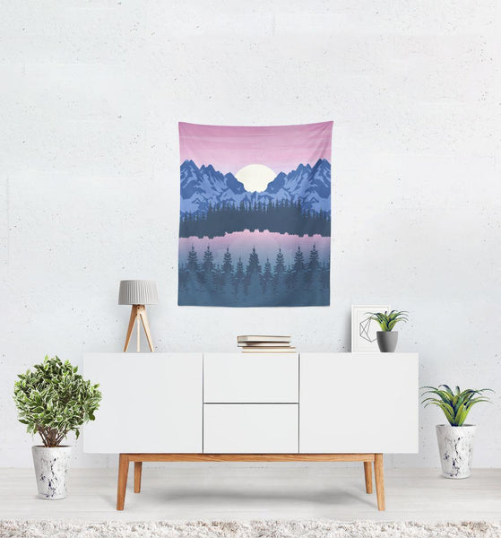 Mountain Sunset Landscape Wall Tapestry - Home Decor - Imagonarium