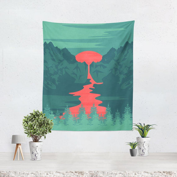 Green Landscape Wall Tapestry - Home Decor - Imagonarium