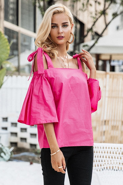 SkyFella Store Blouses Betty Stylish Strap Flare Sleeve Blouse