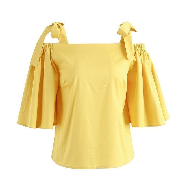 Betty Stylish Strap Flare Sleeve Blouse