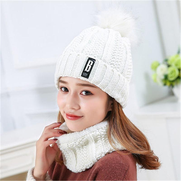 SkyFella Store Cap & Hat Wool Winter Knitted Hat with Soft Pom Pom