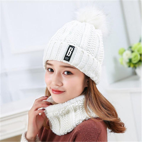 Wool Winter Knitted Hat with Soft Fur Pom Pom