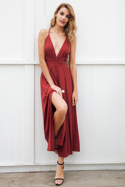 SkyFella Store Jumpsuits & Rompers Rusty Red / S Marry Gorgeous Split Leg Jumpsuit