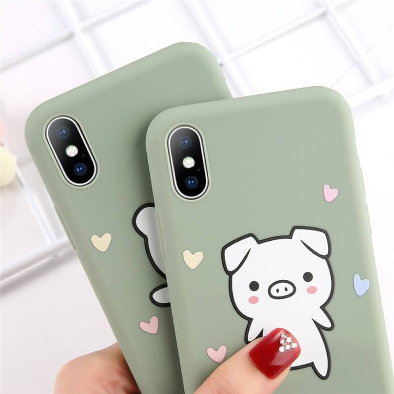 Cute Bear & Piggy iPhone Case