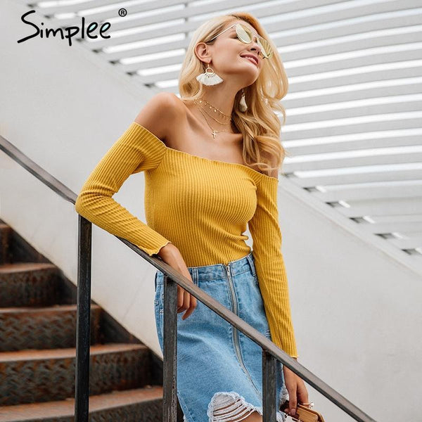 SkyFella Store Tops Kinsley Knitted Off-Shoulder Top