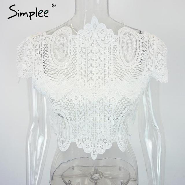 Amanda Spider Lace Crop Top