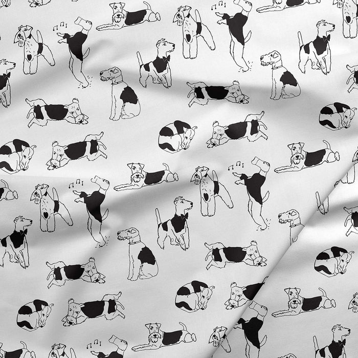 Wire Fox Terrier -Illustrated Foxy Fabric