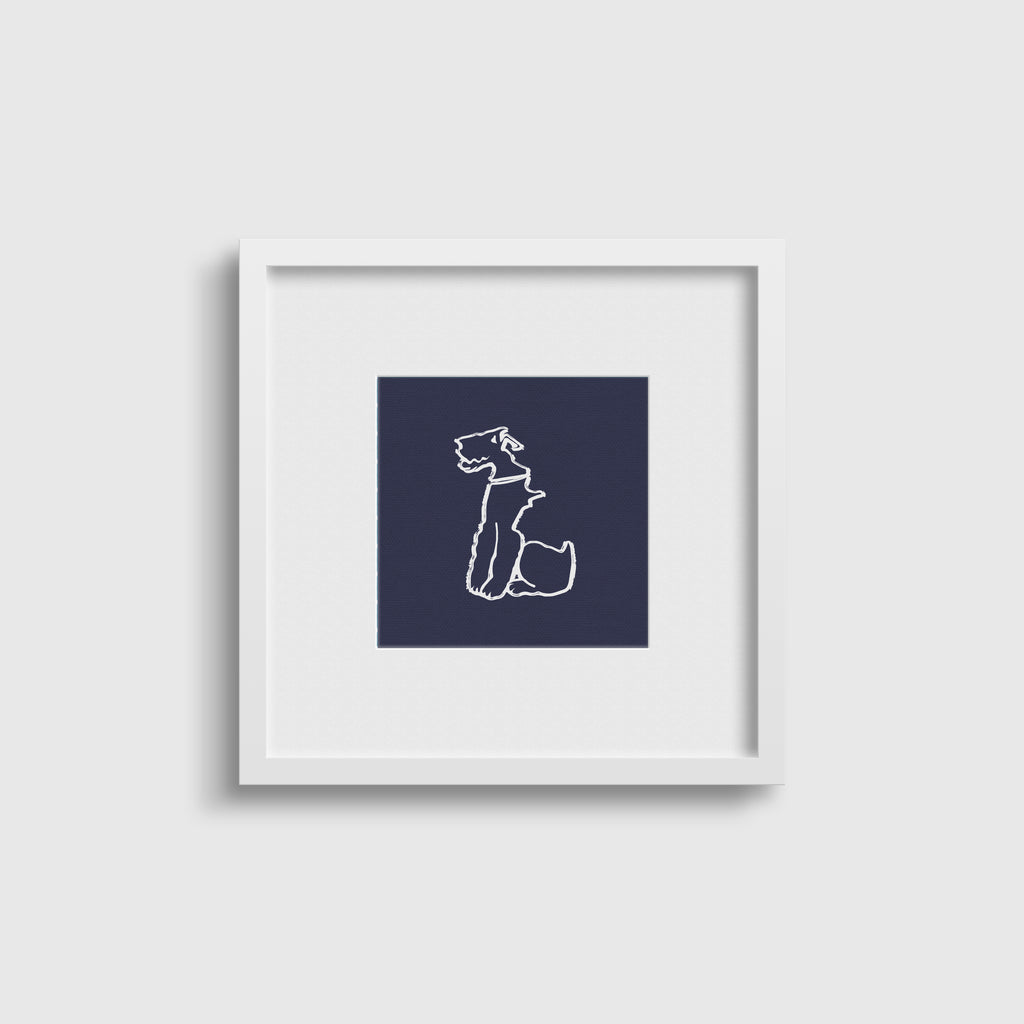 Wire Fox Terrier- Classical Navy Print Set x4