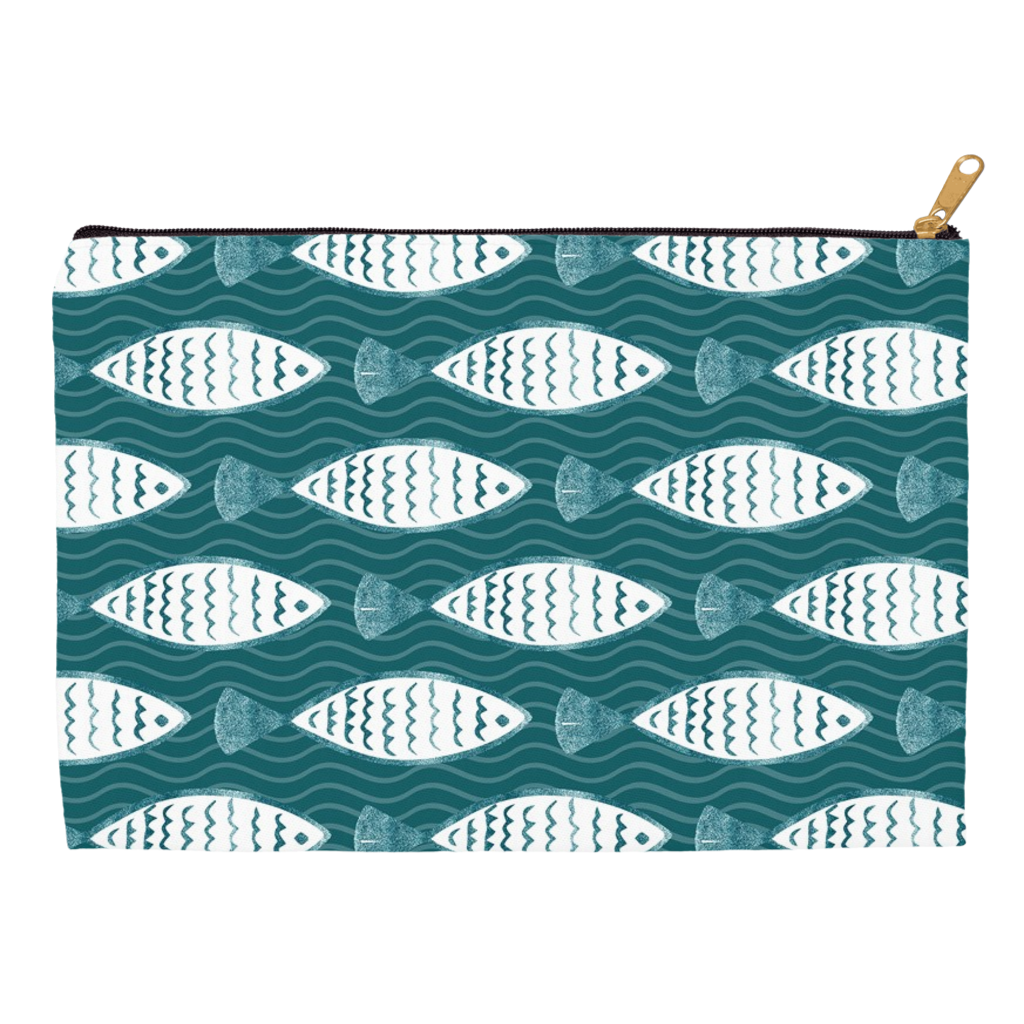 Fishy Pattern Wash and Cosmetic Bag
