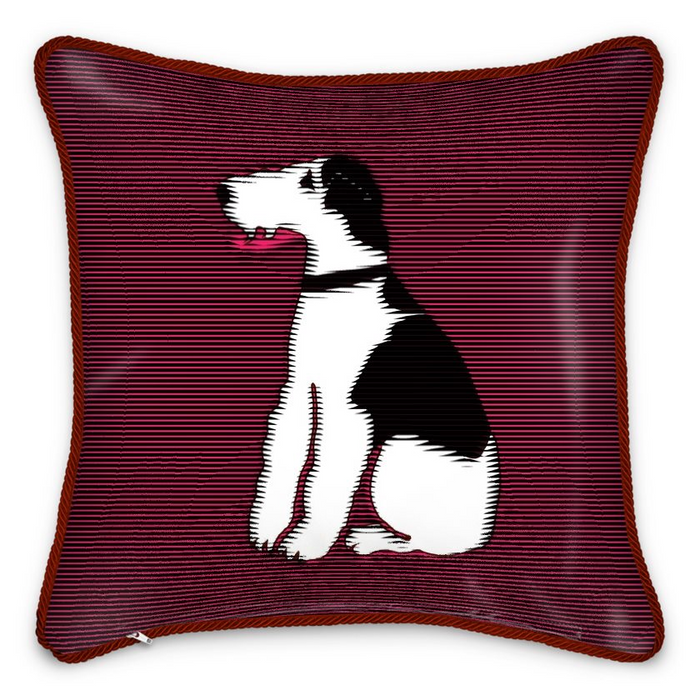 Graphic Fox 100% Silk Piped Cushion