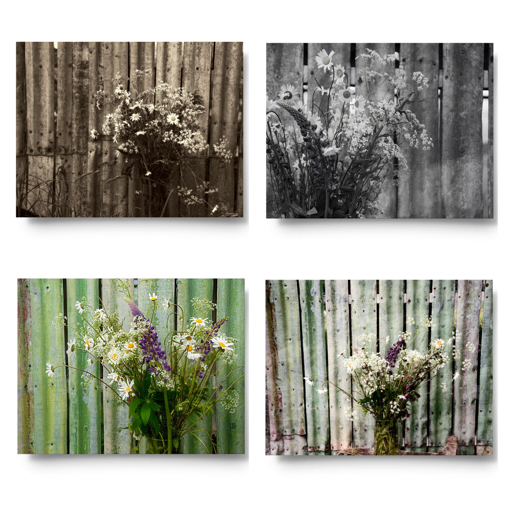 Summer Vase Card Set x4