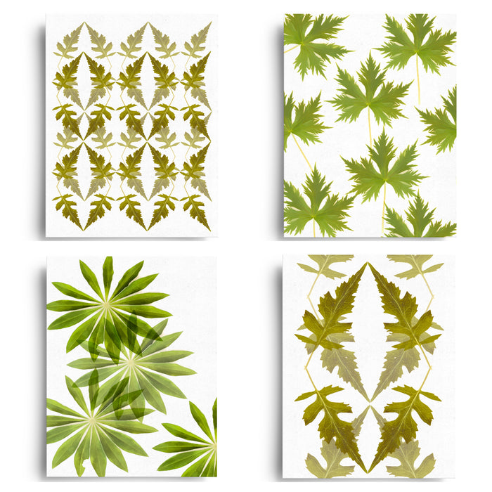 Ornamental Leaf Art Card Set x4