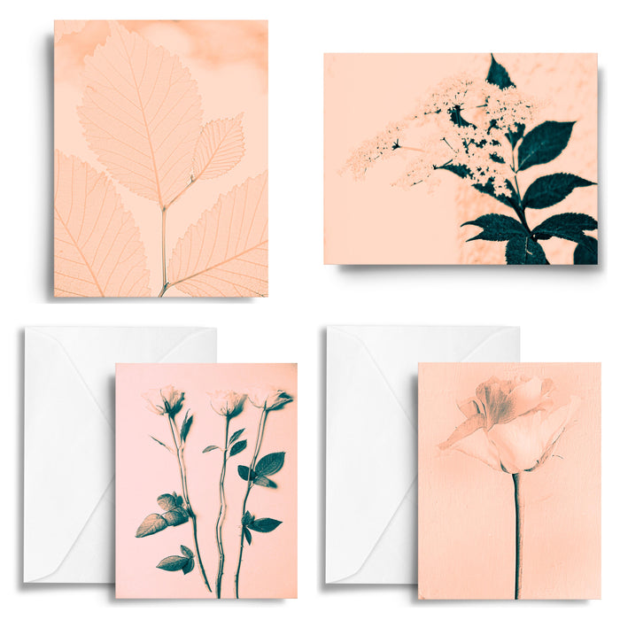 Botanical Retro Bloom Art Card x4
