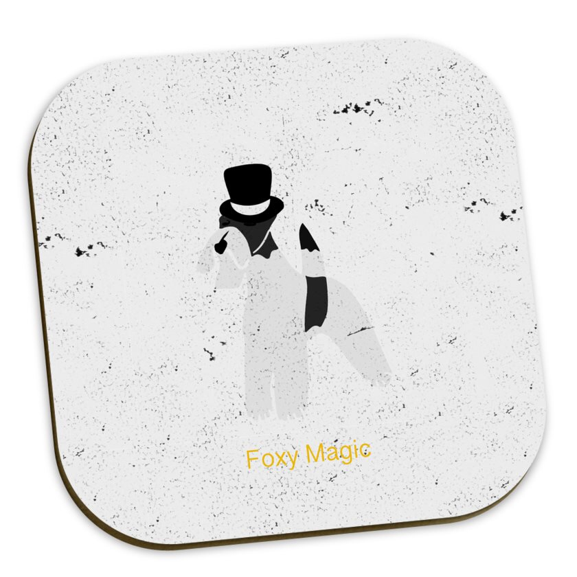 Travel Fox Terrier Coaster Set - Achromatic