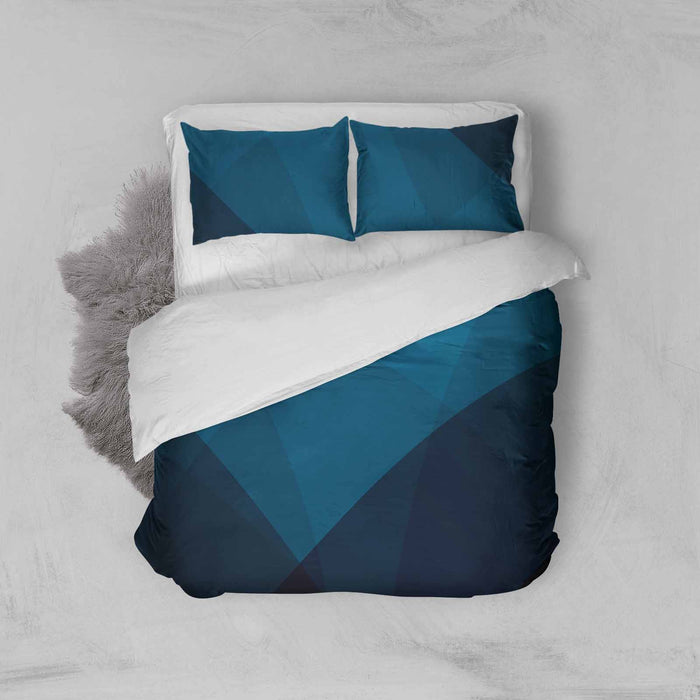 Blue Colour Block Duvet Set