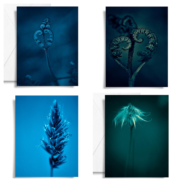 Minimalist Blue Nature Art Card Set x4