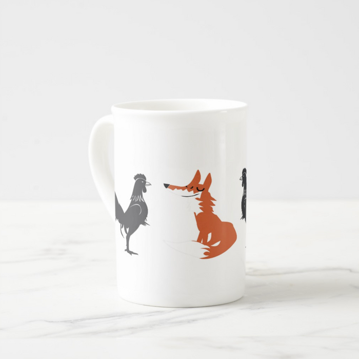 Fox and Cockerel Porcelain Mug