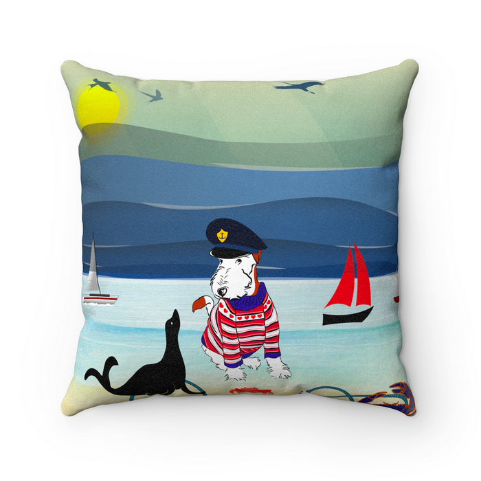 Wire Fox Terrier Scatter Cushion - Nautical Theme