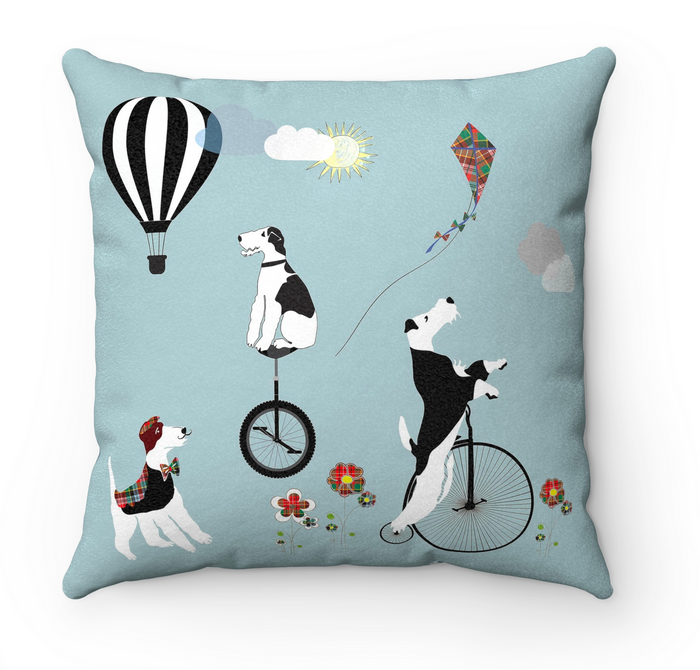 Wire Fox Terrier Scatter Cushion - Circus Foxy