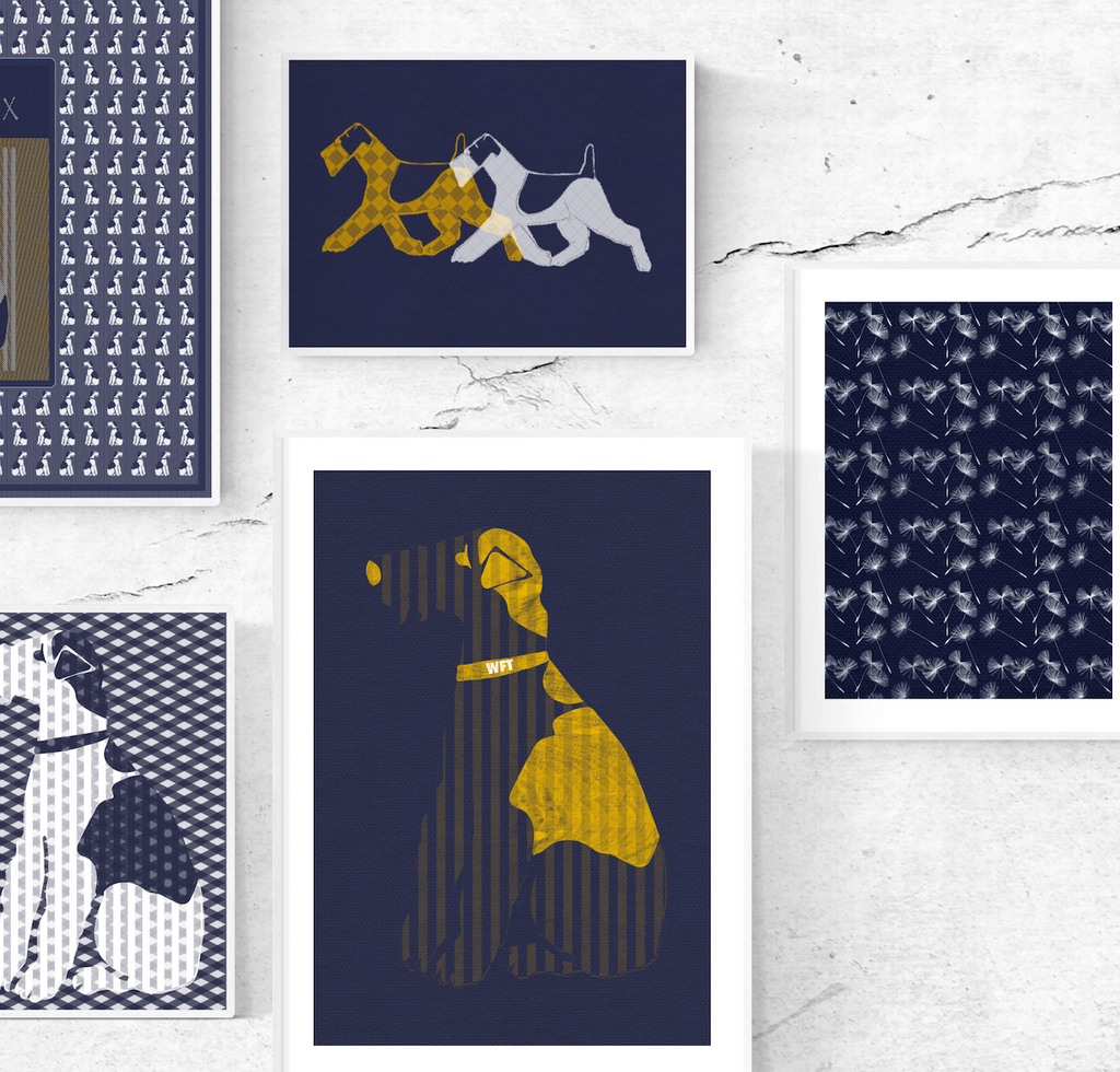 Wire Fox Terrier - Classic Navy and Ochre Print Collection