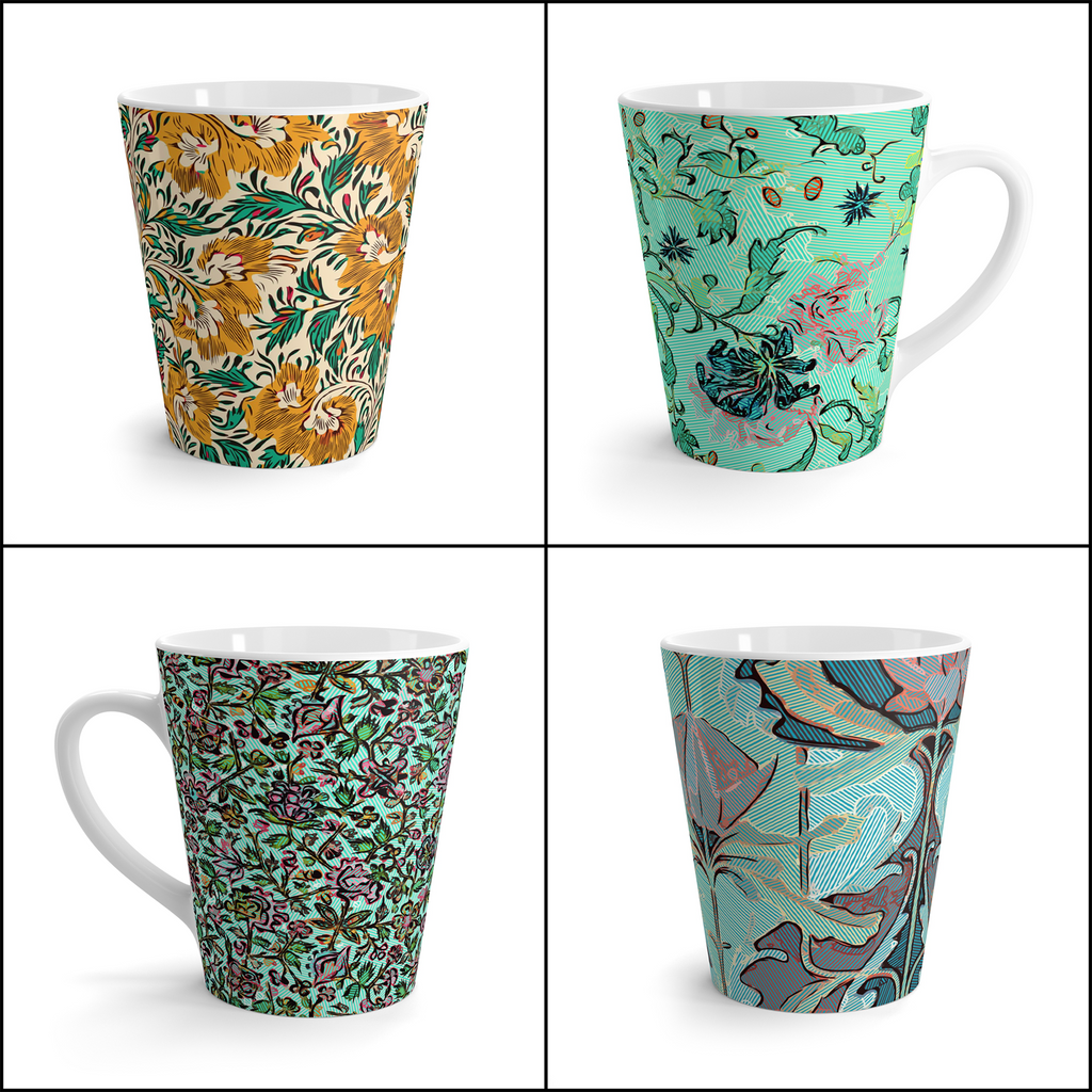 Ornamental Latte Mugs x4