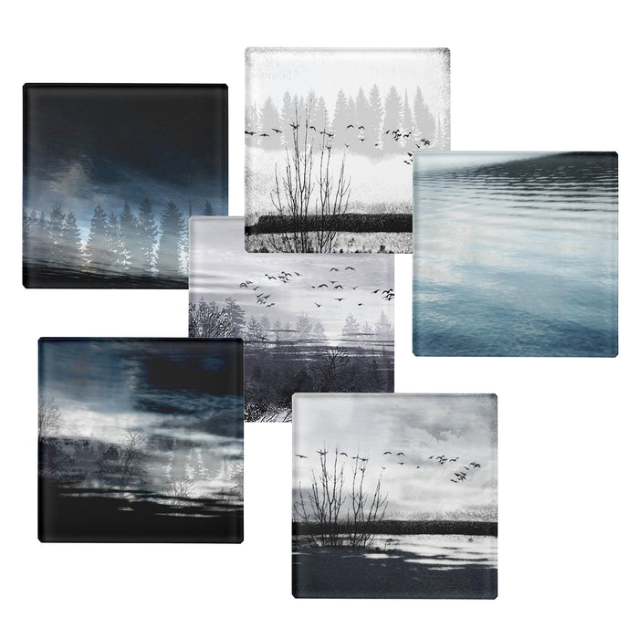 Scottish Highland Landscape Glass Coasters x6