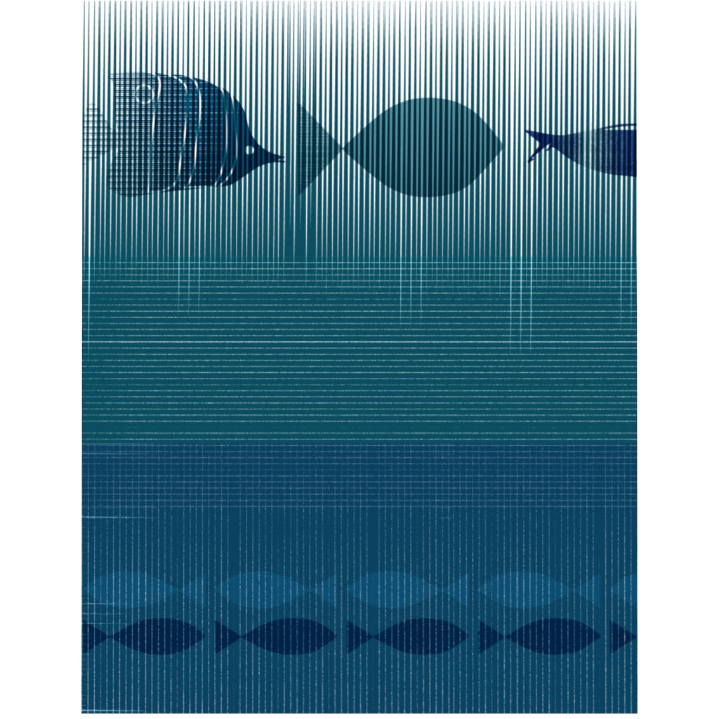 Pinstripe Fish Duvet Cover