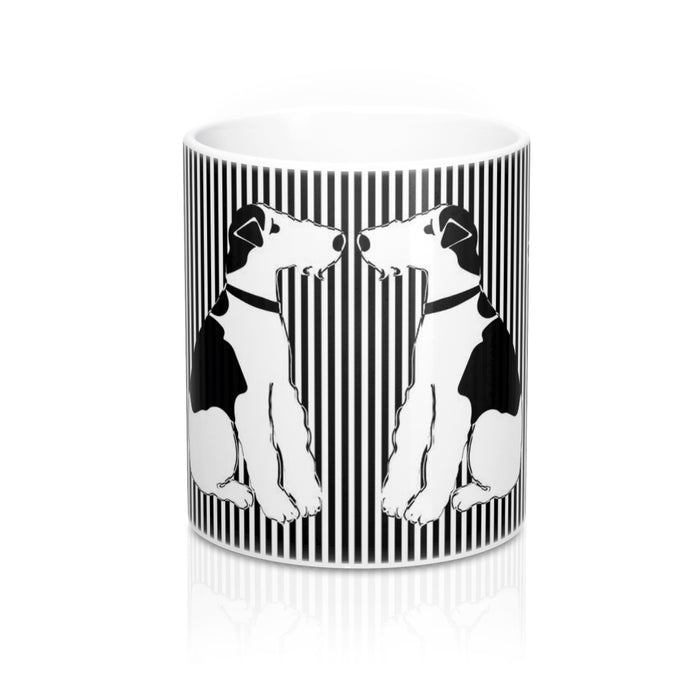 Wire Fox Terrier - Checker Board & Striped Mug