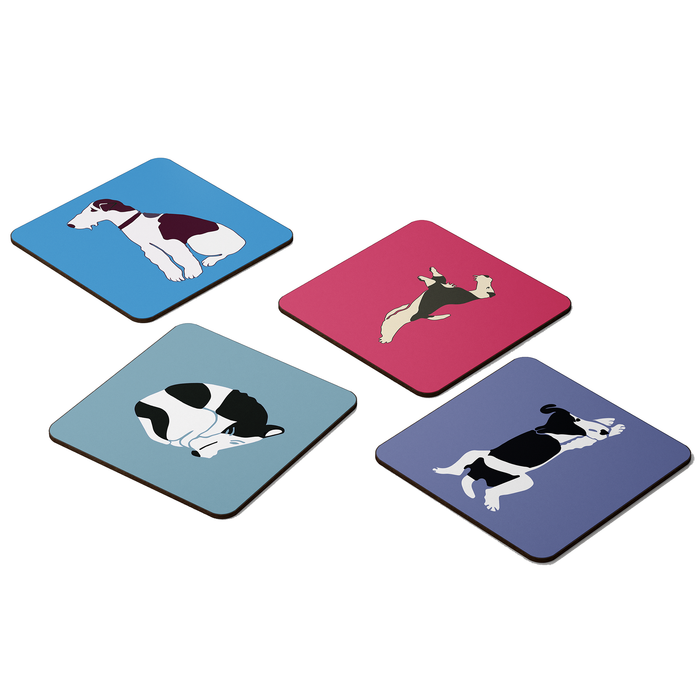 Wire Fox Terrier Retro Graphic Coaster Set x4