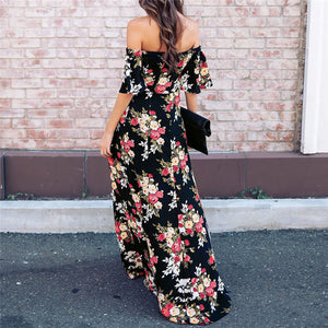 Women's Floral Print Off Shoulder Maxi Dress - esstey