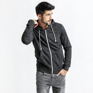Men Casual Zipper Hoodies Kangaroo Pocket Slim Fit - esstey