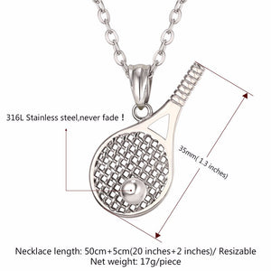 Tennis Racket Pendant Necklace For Men/Women/Couple Gold & Silver - esstey