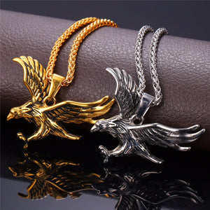 Eagle Pendant Necklace Men/Women Jewelry Gold Plated & Stainless Steel Hawk - esstey