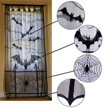Load image into Gallery viewer, Halloween Black Lace Spiderweb Window Door Curtain - esstey