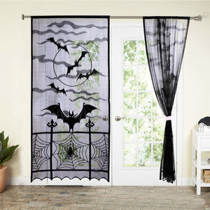 Halloween Black Lace Spiderweb Window Door Curtain - esstey